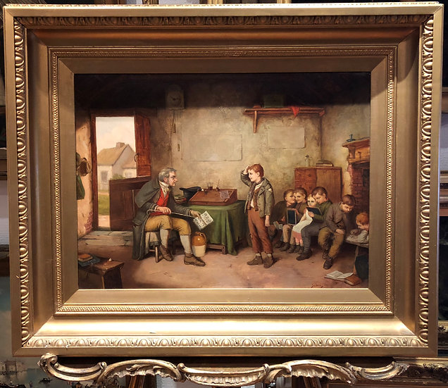 OLD GRAND MASTER PAINTER LARGE PAINTING 19th CENTURY GOLD GILT FRAME