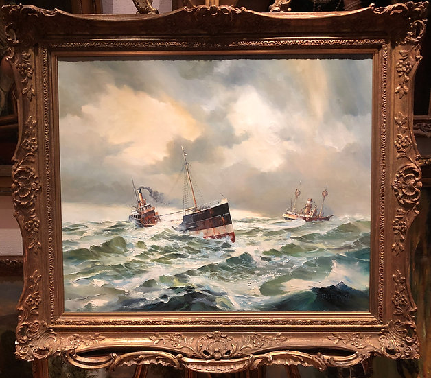 LARGE OIL PAINTING By B . R . ENTWISTLE 20th Century ( OLD MASTER STYLE )