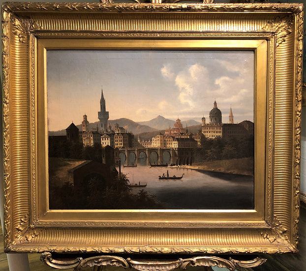 """OIL PAINTING """"RARE CHINA SCENE"""" 19th CENTURY IN A GOLD GILT FRAME"""