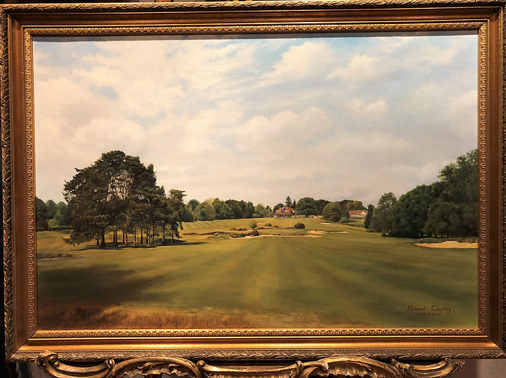OIL PAINTING GOLF COURSE BRITISH SCHOOL 20th CENTURY BEAUTIFUL PIECE