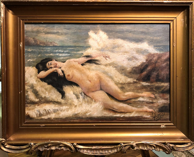 19th CENTURY  FRENCH SYMBOLIST OIL - WATER NYMPH BY THE SEA