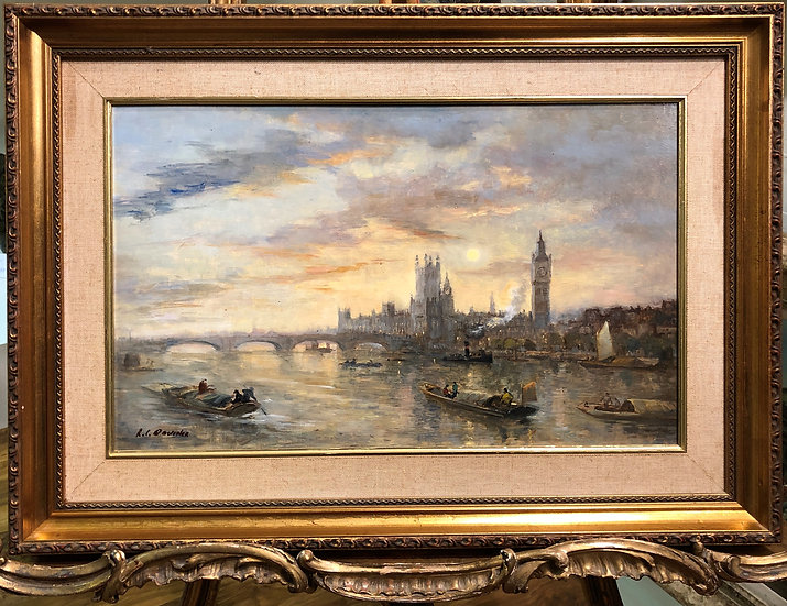 OIL PAINTING OF LONDON By R. L . Daviner  MID 20th CENTURY IMPRESSIONISM