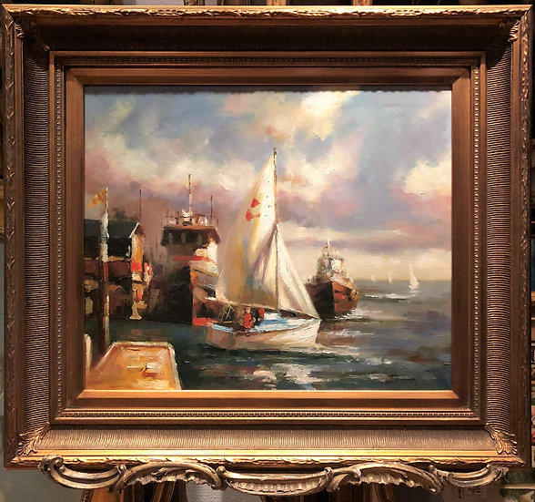 OIL PAINTING IMPRESSIONISM BY DAVIVE 20th CENTURY MAN of WAR SHIPS GOLD FRAME