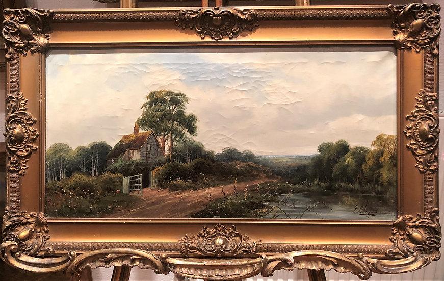 FINE LARGE Original 19th Century British OLD MASTER OIL PAINTING Romantic Scene