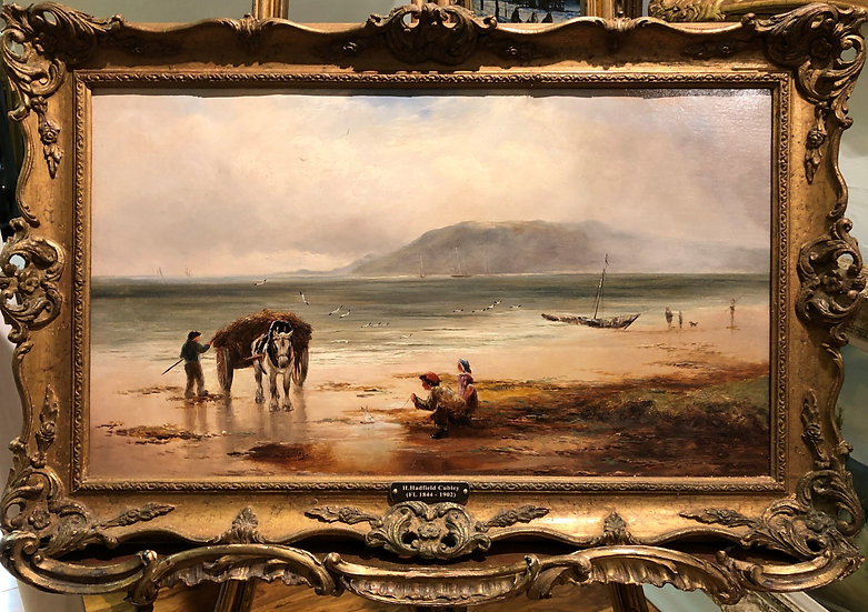 Oil PAINTING SHORE SCENE Old Master 19th Century In a GOLD GILT FRAME