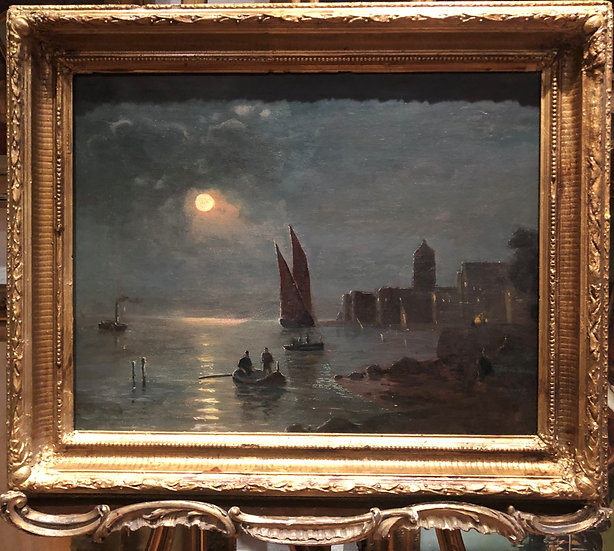 """OIL PAINTING """"RARE OLD NIGHT SCENE OF VENICE """" 19th CENTURY IN A GOLD GILT FRAME"""