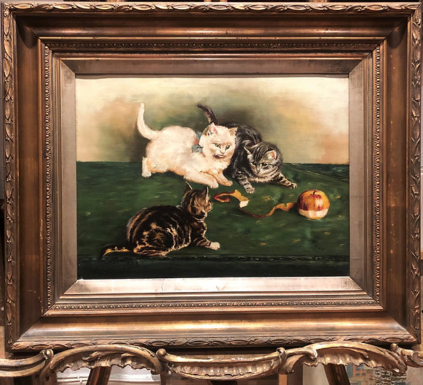 FINE ORIGINAL ANTIQUE Manner of Louis Wian 1908 OLD MASTER OIL PAINTING KITTENS