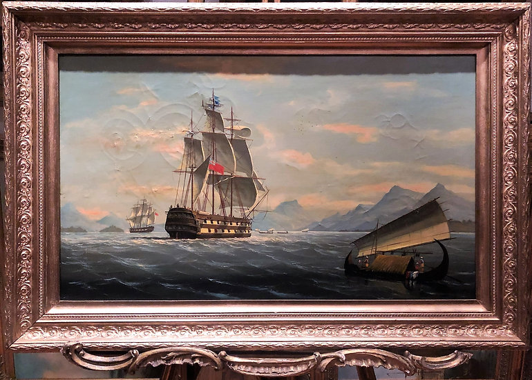 FINE ORIGINAL EARLY 19th CENTURY BRITISH OLD MASTER OIL PAINTING HONG KONG SCENE