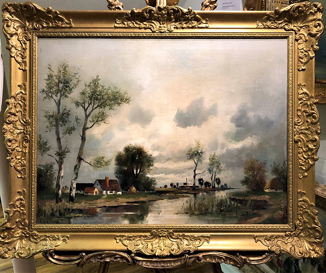 LARGE OIL PAINTING By A FINE IMPRESSIONIST ARTIST 20th CENTURY IN A GOLD FRAME