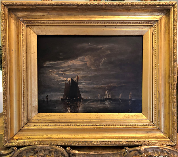 "OIL PAINTING ""RARE OLD NIGHT SCENE"" 19th CENTURY IN A GOLD GILT FRAME"