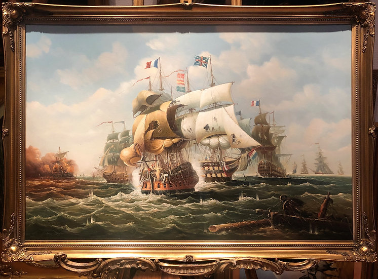 HUGE OIL PAINTING SALVATORE COLACICCO (NAVY ADMIRALTY Man o War 20th CENTURY