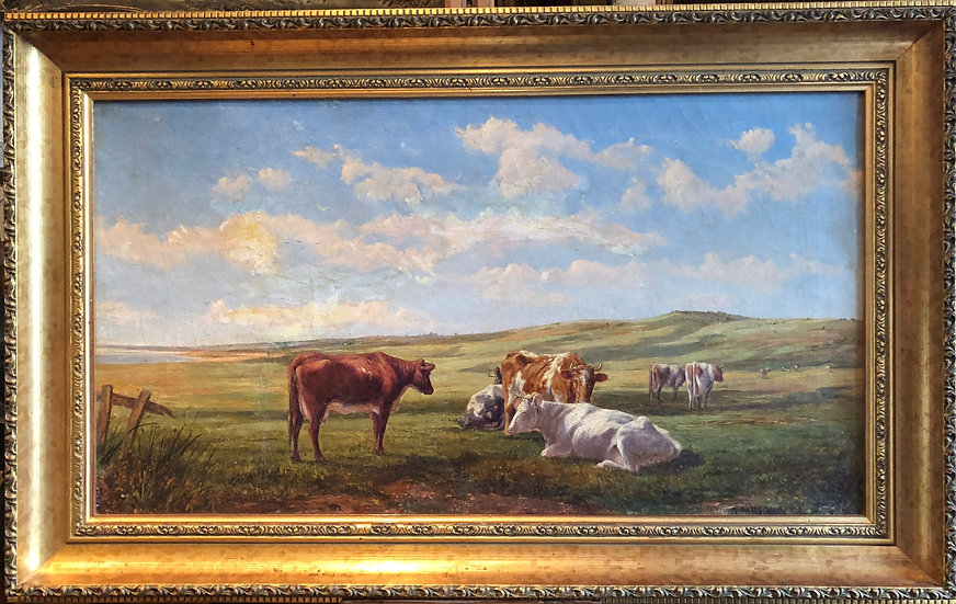 1883 OLD MASTER By Alfred parsons 19th CENTURY OIL PAINTING in GOLD GILT FRAME