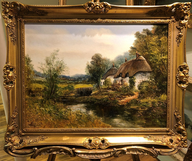 "OIL PAINTING IN GOLD GLIT FRAME ""Old master style"" Beautiful Village Scene"