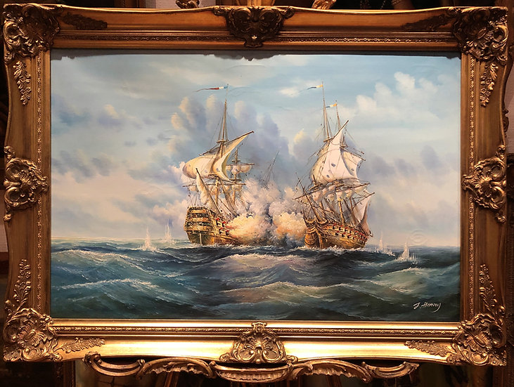 OLD MASTER HUGE OIL PAINTING 19th CENTURY STYLE Powerful Sea Scene GOLD