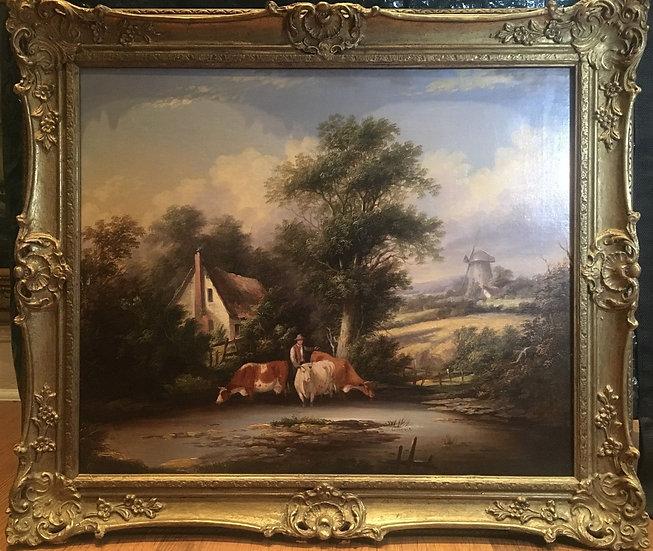 OIL PAINTING FINE LARGE ORIGINAL ANTIQUE 18th CENTURY BRITISH OLD MASTER SCENE