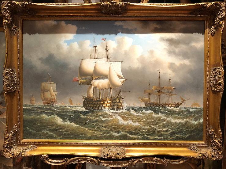 HUGE OIL PAINTING ( WONDERFUL FRAME ) HMS VICTORY & FLEET MASTER 20th CENTURY