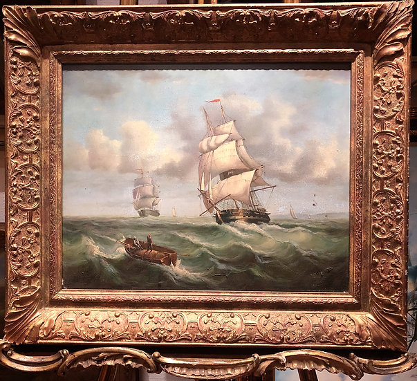 OIL PAINTING FOLLOWER of LOUIS DODD 20th CENTURY MAN of WAR SHIPS GOLD FRAME