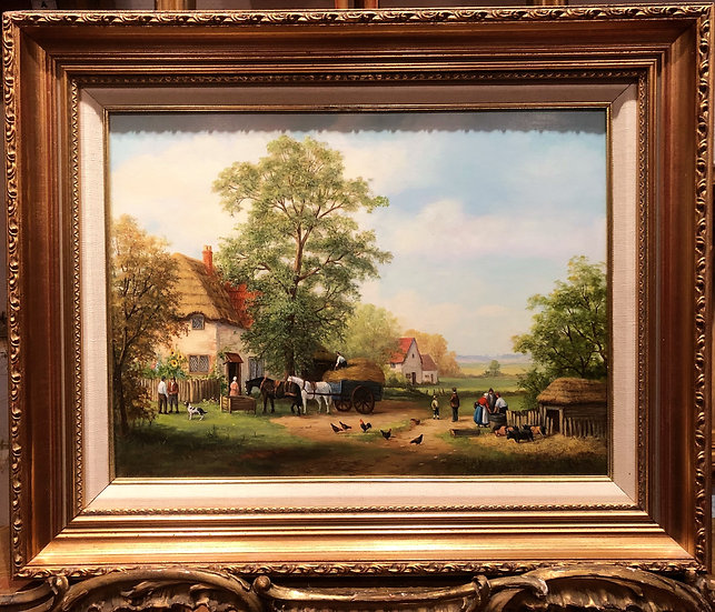 "OIL PAINTING IN FINE GOLD GILT FRAME ""Old master style"" Beautiful Village Scene"