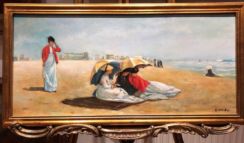 OIL PAINTING FINE ( LADIES ON A BEACH SCENE ) 20th CENTURY Signed & Gold frame