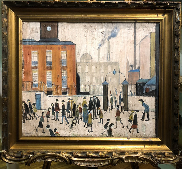 """OLD MASTER Signed L S LOWRY """" Factory Gates """" OIL PAINTING 20th CENTUR"""