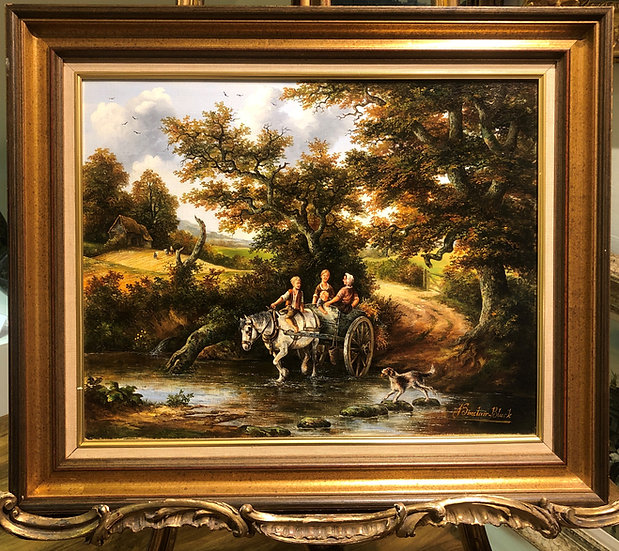 "OIL PAINTING IN GOLD GLIT FRAME ""Old master style"" Beautiful River Sce"