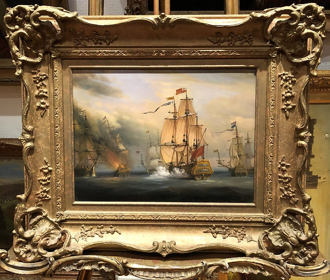 OIL PAINTING ( WONDERFUL FRAME ) MARITIME SHIP PIECE MASTER 20th CENTURY