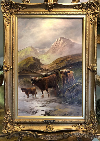 FINE Antique  19th Century British old master Oil painting Gold Frame