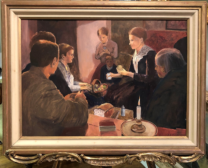 Oil PAINTING in a Early Van Gogh Style Fine Original Large Family Dinner Scene