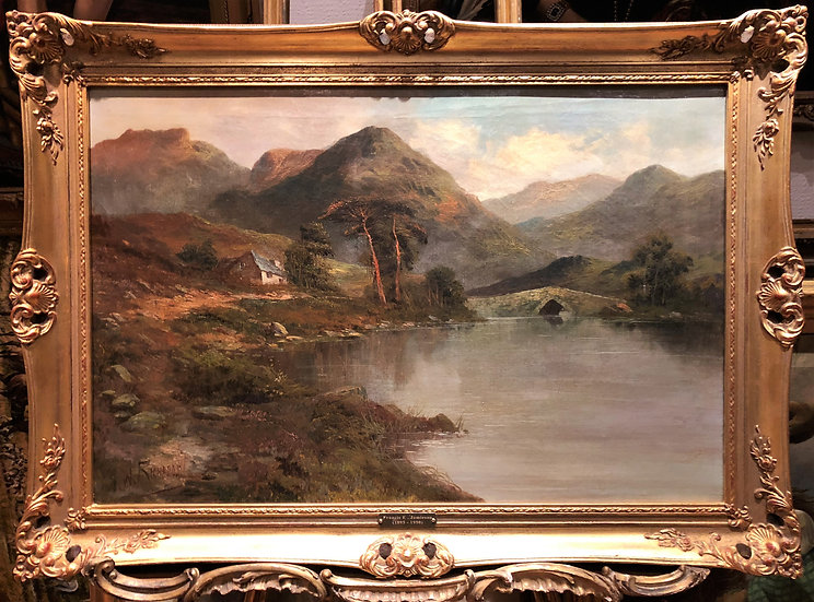 HUGE FINE Original Antique 19th Century British OLD MASTER OIL PAINTING Scene