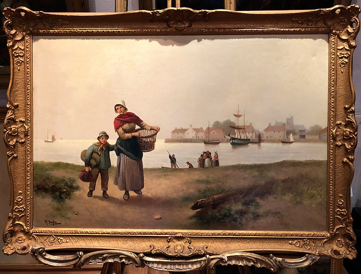 OLD MASTER LARGE OIL PAINTING LATE 19th CENTURY Powerful Sea Scene GOLD