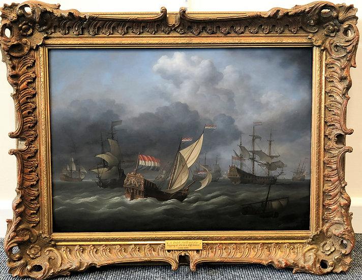 FINE MASTER OIL PAINTING LOUIS DODD 20th CENTURY MARINE SHIP SCENE GOLD FRAME