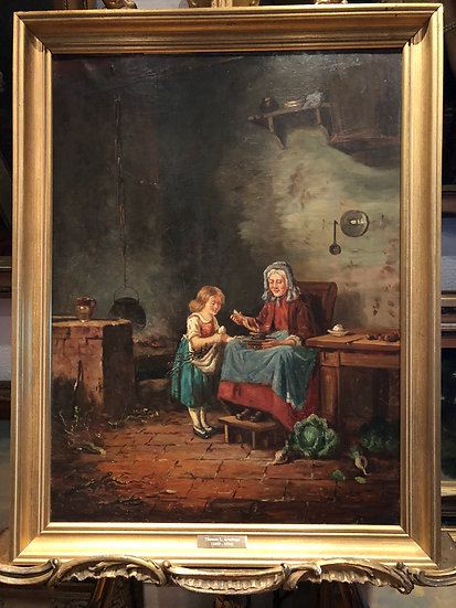 OLD MASTER LARGE 19th CENTURY Thomas Liddall Armitage OIL PAINTING GOLD FRAME