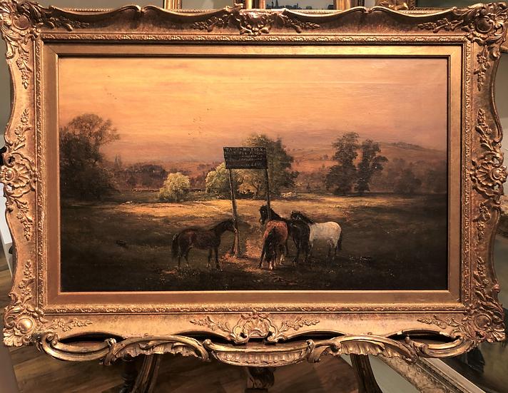 LARGE FINE Painting BY DAVID PAYNE 1843- 1894  of Horses  19th Century British