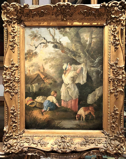 FINE OIL PAINTING Attributed To ANTOINE WATTEAU ANTIQUE 18th CENTURY OLD MASTER