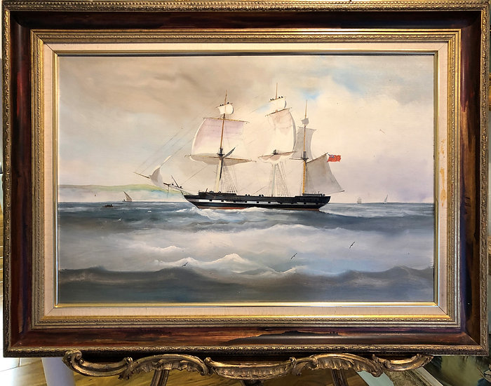 Oil PAINTING MANNER of Salvatore Colacicco Sailing Yacht Some where in the World