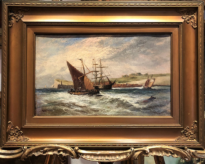 OIL PAINTING SIGNED OLD FINE BOAT/ SHIP PAINTER 19th Century BRITISH SCHOOL