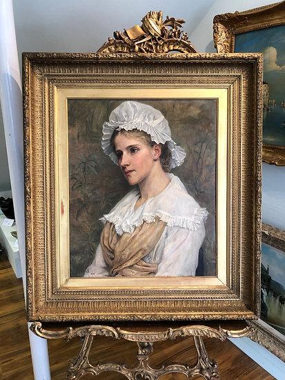 OIL PAINTING By Georgina Koberwein Terrell  1853 - 1903 GOLD FRAME