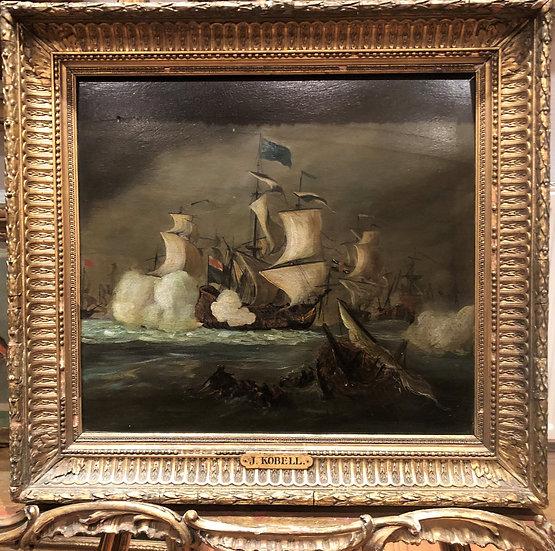 FINE ORIGINAL ANTIQUE 17th CENTURY BRITISH  MASTER OIL PAINTING BATTLE SCENE