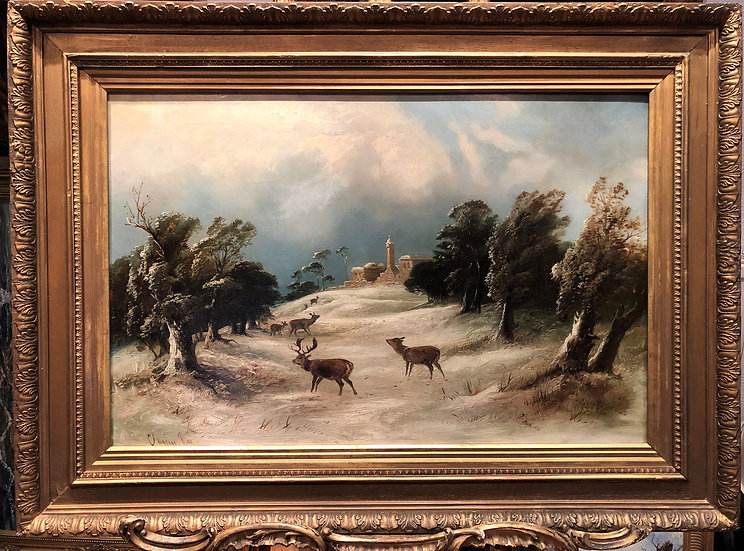 OLD MASTER By Clarence Henry Roe 19th CENTURY OIL PAINTING ROMANTIC CASTLE SCENE