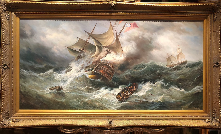 HUGE OIL PAINTING ( WONDERFUL FRAME ) MARITIME SHIP PIECE MASTER 20th CE