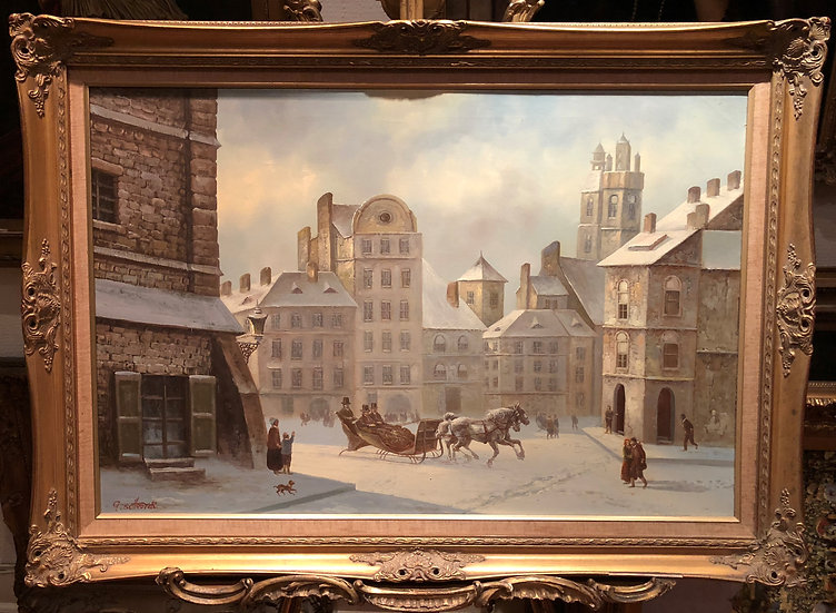 HUGE OIL PAINTING OLD LARGE BRITISH SCHOOL 20th CENTURY STYLE  BEAUTIFUL