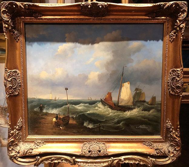 OIL PAINTING ( WONDERFUL FRAME ) MARITIME SHIP PIECE MASTER 20th CENTURY