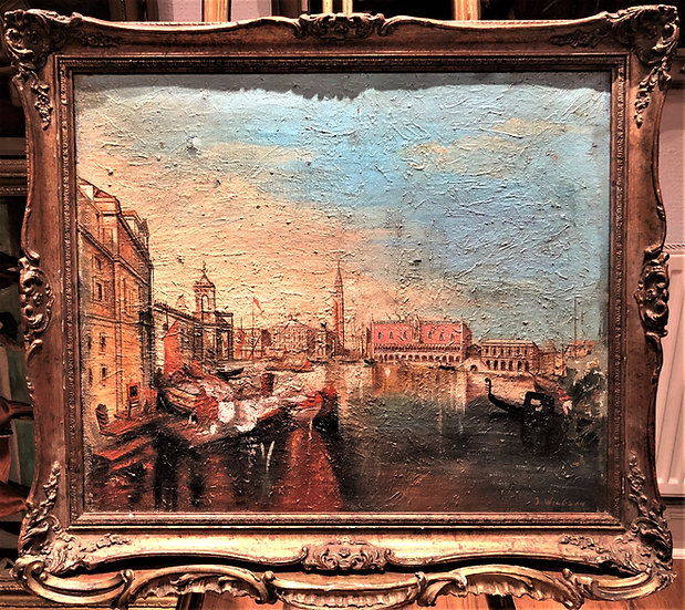 LARGE OIL PAINTING OLD MASTER of Venice 19th CENTURY in a GOLD GILT FRAME