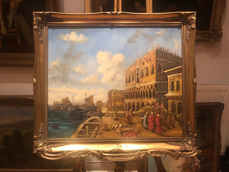FINE LARGE OIL PAINTING ITALIAN SCHOOL VENICE SCENE PIECE 20th CENTURY P