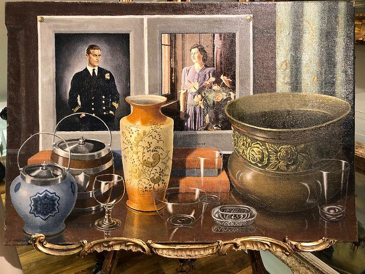 DUKE OF EDINBURGH PRINESS PHILIP ROYAL PIECE 1947 OIL PAINTING 20th CENTURY