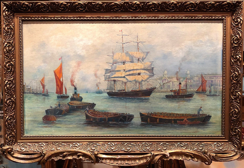 OIL PAINTING of Shipping on the THAMES old MASTER Style CIRCA 20TH CENTURY