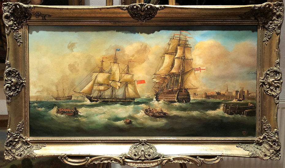 HUGE OIL PAINTING ( WONDERFUL FRAME ) MARITIME SHIP PIECE MASTER 20th CENTURY