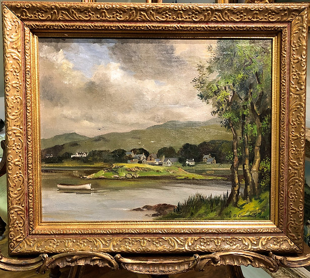 OIL PAINTING of a FRENCH SCHOOL POST WAR 20th Century in a Gold Gilt Frame