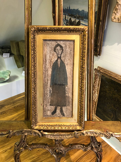 """OLD MASTER Signed L S LOWRY """" Lady With A Bag """" OIL PAINTING 20th CENTURY"""
