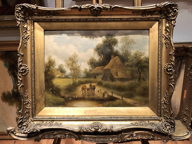 FINE OLD MASTER OIL PAINTING 19th Century's by H B Willock's GOLD GILT F